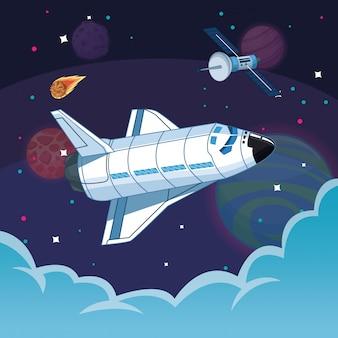 Nave espacial na galáxia