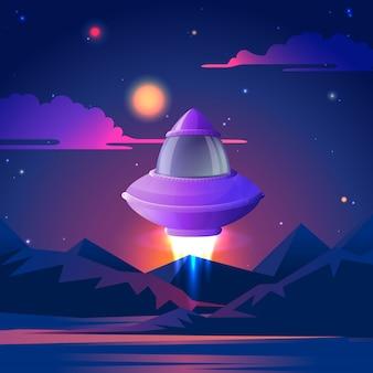 Nave espacial nas estrelas da noite.