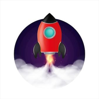 Nave espacial. o foguete decola.