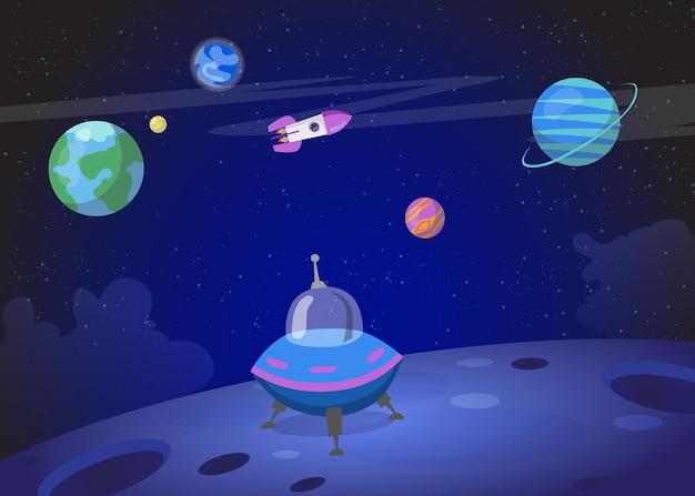 Nave espacial pousando na superfície do planeta. ilustração de desenho animado