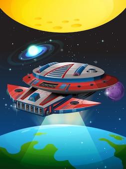 Nave espacial voando ao redor da terra