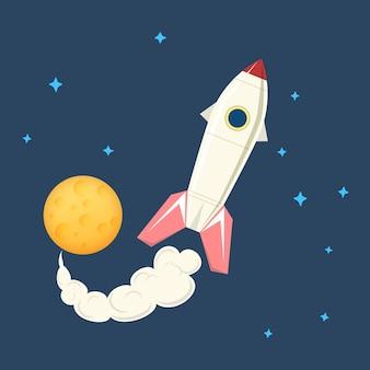 Nave espacial voando no espaço entre as estrelas e planetas, ilustração vetorial