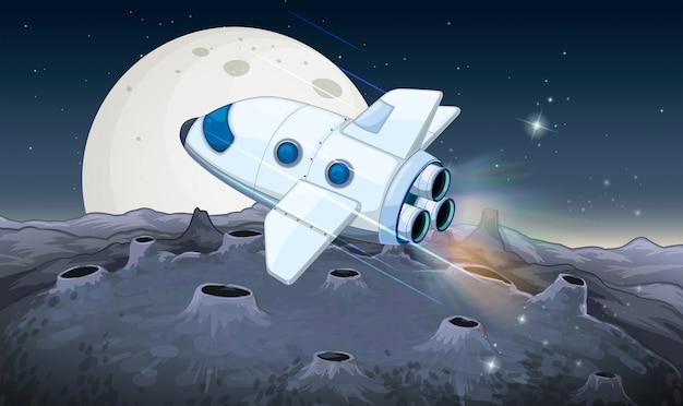 Nave espacial voando sobre a lua