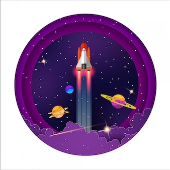 Nave espacial voar entre planetas bonitas na galáxia