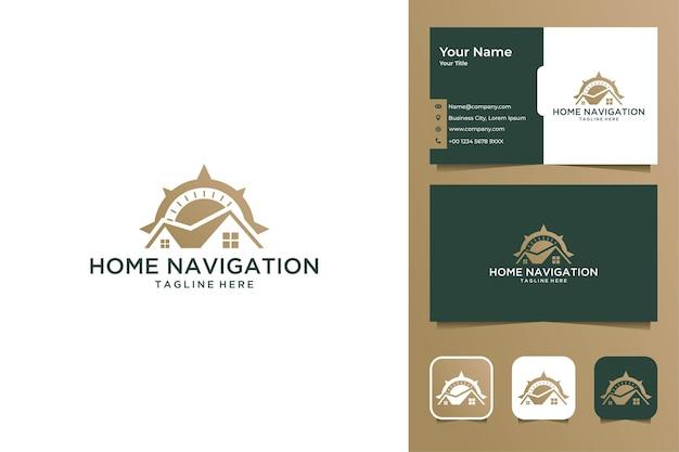 Navegação doméstica com design de logotipo de bússola e cartão de visita