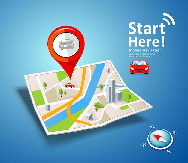 Navegação em carro com mapas dobrados com marcador de ponto de cor vermelha