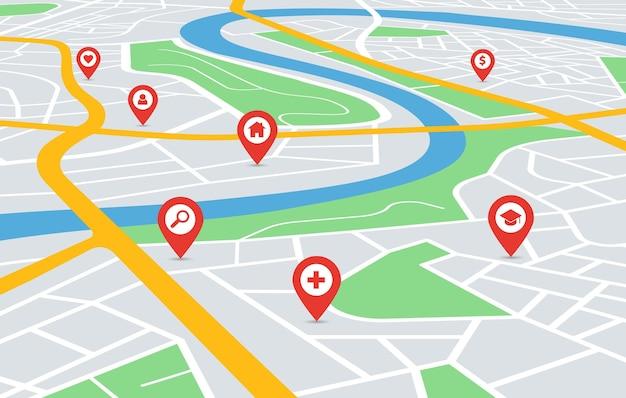 Navegação em perspectiva no mapa da cidade com ponteiros de pinos no centro de ruas gps navegador marcador de localização vermelho