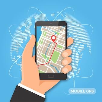 Navegação gps móvel e conceito de rastreamento.