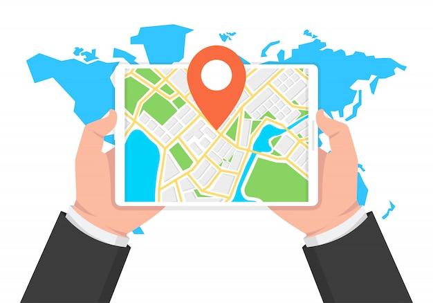 Navegação gps móvel e rastreamento no tablet