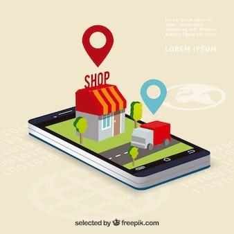 Navegação isométrica telefone móvel