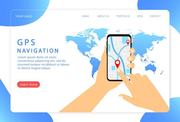 Navegação móvel, gps. página de destino. páginas da web modernas para sites.