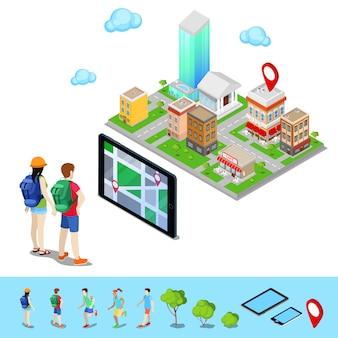 Navegação móvel isométrica. turistas procurando rota na cidade. ilustração vetorial