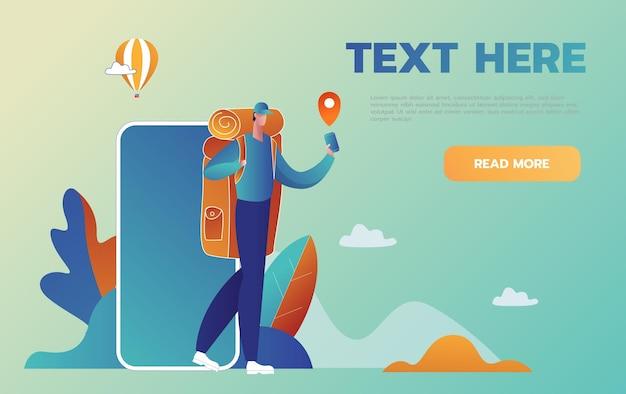 Navegação no seu smartphone. o homem do turista é guiado em um lugar desconhecido com um telefone de ajuda. estilo cartoon