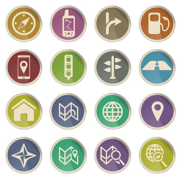 Navegação simplesmente conjunto de ícones vetoriais