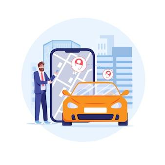 Navegador de mapa de aplicativo on-line de rastreamento gps na tela do smartphone com pinos de navegação