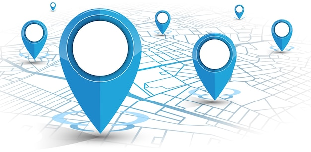 Navegador gps com pino de cor azul com mapa