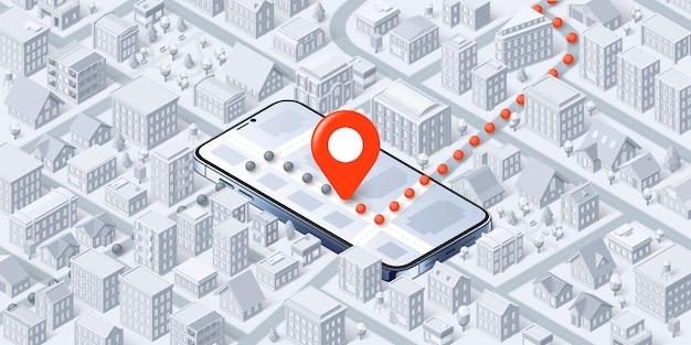 Navegador móvel isométrico ponto de pin no mapa de rota do smartphone através da ilustração da cidade