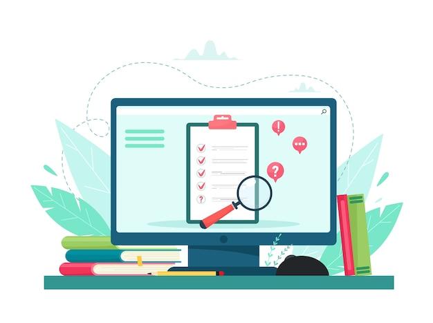 Navegue pela ilustração. conceito de controle de qualidade e relatório de satisfação. feedback do cliente ou formulário de opinião. o cliente responde ao entendimento com uma equipe de pesquisa profissional