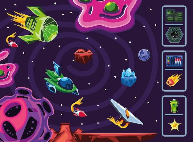 Naves espaciais de nebulosa de videogame espacial