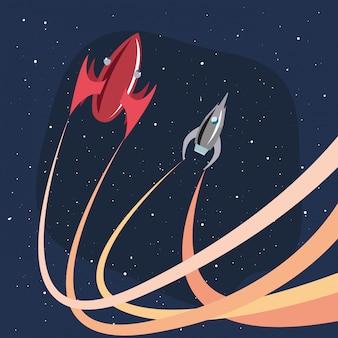 Naves espaciais lançando espaço