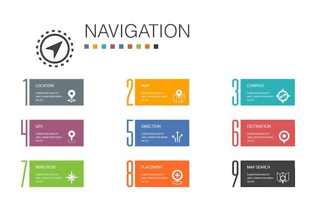 Navigation infographic 10 linha de opção concept.location, map, gps, direção simples icons