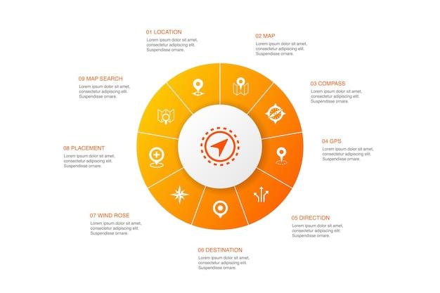 Navigation infographic design do círculo de 10 passos. localização, mapa, gps, ícones simples de direção