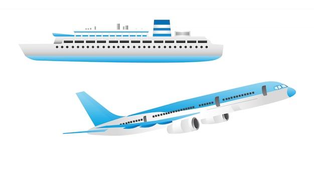 Navio azul e branco e aeronaves isoladas sobre o vetor de fundo branco