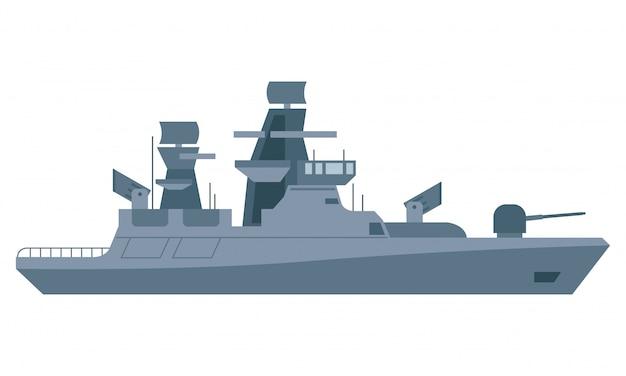 Navio blindado com muitas armas no meio do mar