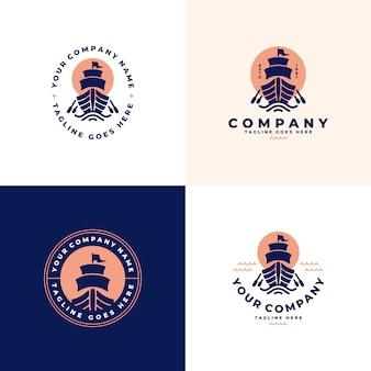 Navio, coleção de logotipo de barco