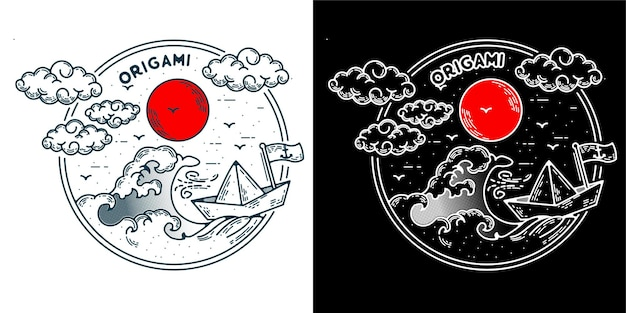 Navio com logotipo de origami minimalista monoline para logotipo de tatuagem de emblema ou vintage retro