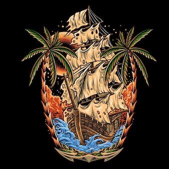 Navio com vela quebrada no mar