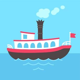Navio de barco a vapor dos desenhos animados