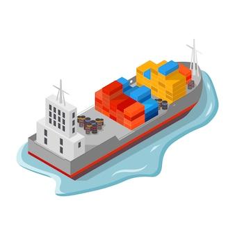 Navio de carga com contêineres, caixas e barris.