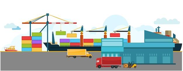 Navio de carga contentorizada com grua a trabalhar