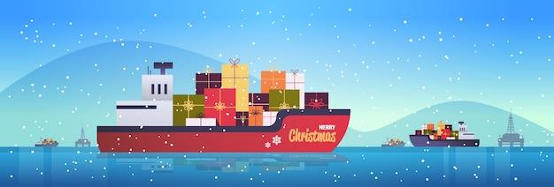 Navio de carga de contêiner com caixas de presente presente conceito de transporte logístico natal ano novo feriados celebração plana ção