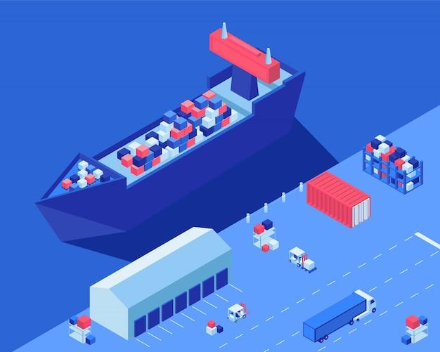 Navio de carga descarregando ilustração vetorial isométrica. transporte de distribuição de remessas, empilhadeiras e caminhões com carga no centro logístico