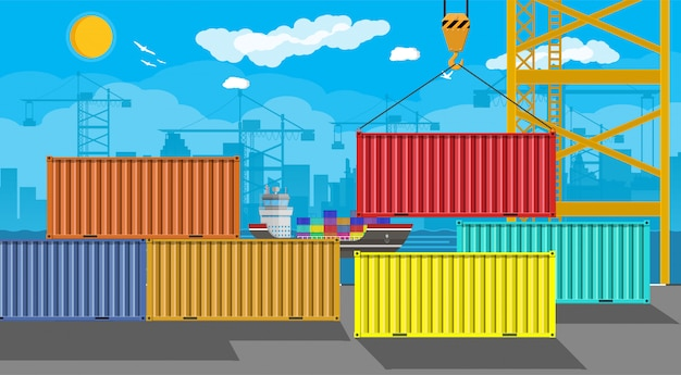 Navio de carga, guindaste de contêiner. logística portuária