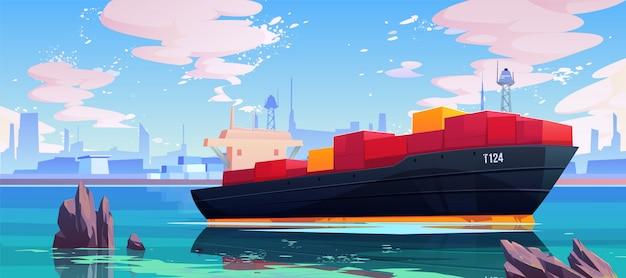 Navio de carga na ilustração da doca do porto marítimo