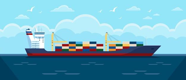 Navio de carga no oceano navio de carga comercial com contêineres na ilustração do mar