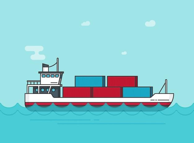 Navio de carga ou navio flutuando na ilustração de água do oceano em desenhos animados plana
