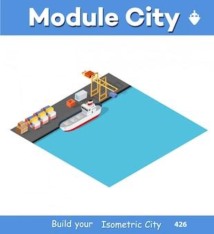 Navio de carga portuária isométrico