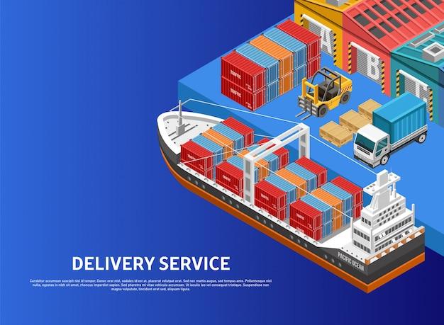 Navio de carregamento de máquinas pesadas no porto de carga