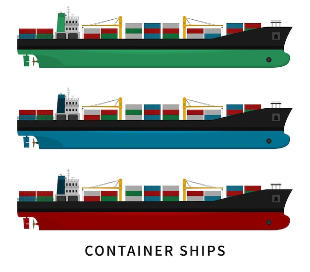 Navio de contêiner vermelho azul verde com guindastes e mercadorias. indústria de transporte, importação e exportação de carga