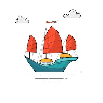 Navio de cor com velas vermelhas no mar