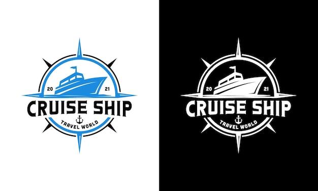 Navio de cruzeiro com bússola. modelo de design de logotipo de navegação de viagem marítima