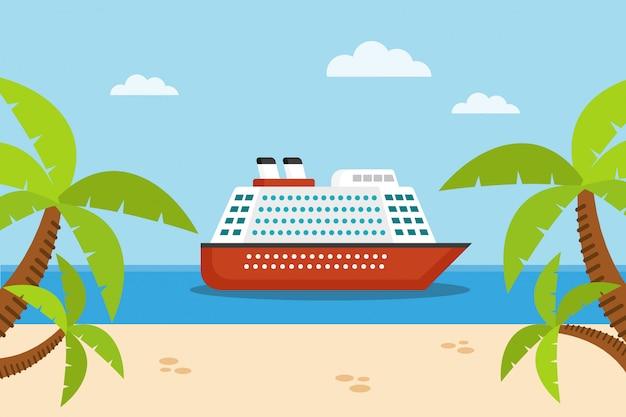 Navio de cruzeiro no mar, areia e palmeiras