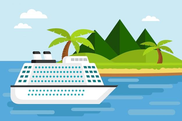 Navio de cruzeiro no mar com ilha tropical