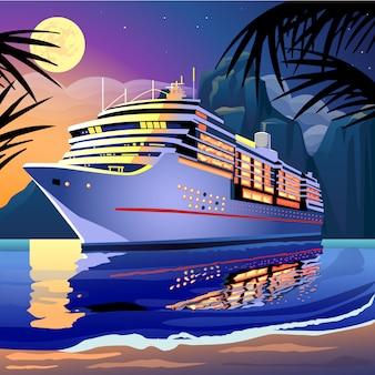 Navio de cruzeiro sob o luar em uma lagoa tropical