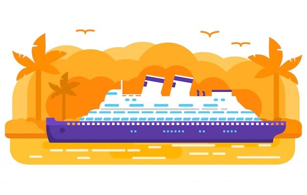 Navio de cruzeiro velho retrô, forro de oceano de passageiros, ilha tropical de uma palmeira.
