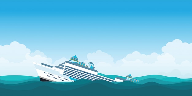 Navio de cruzeiro virado.